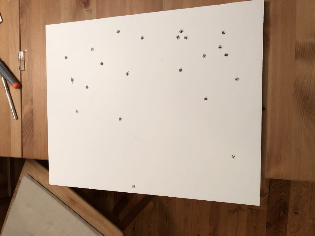 Foam board holes drilled