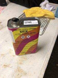 MEK to clean parts