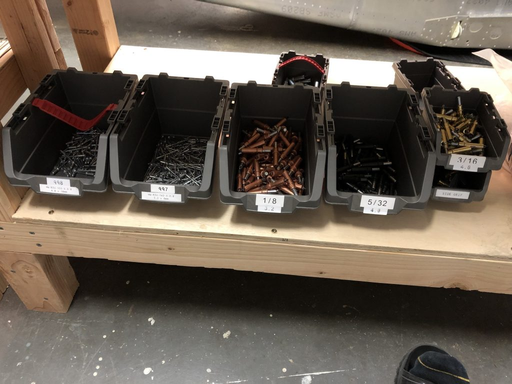 Rivets and Clecos organized and labelled