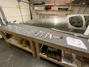 Aileron ribs laid out for the left and right side