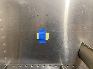 Marking the center and hole to cut out