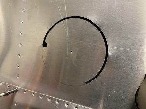 First half of the circle cut - I had to reverse the tool at this point since the pitot tube mast blocked finishing the circle from this direction