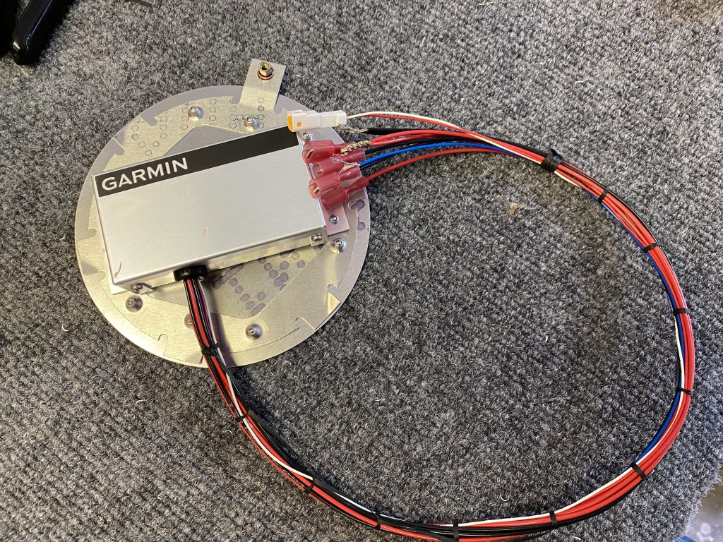 Completed inspection panel plate with the Garmin Regulator mounted.