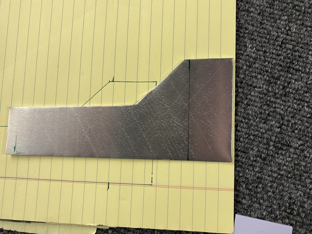 Bracket cut and 90 degree bend location marked
